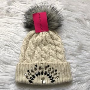 BETSEY JOHNSON cable knit beanie with stones NWT